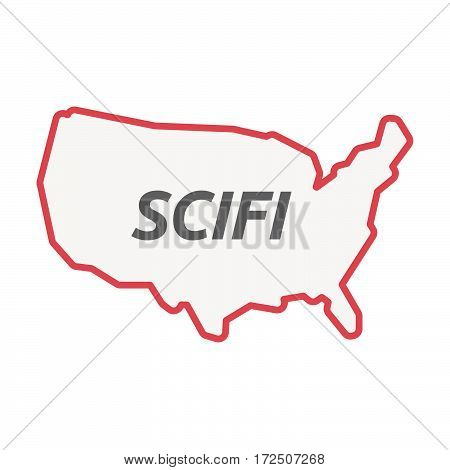 Isolated Line Art Usa Map With    The Text Scifi