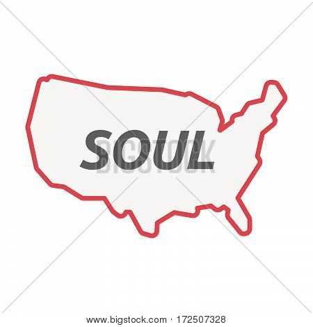 Isolated Line Art Usa Map With    The Text Soul