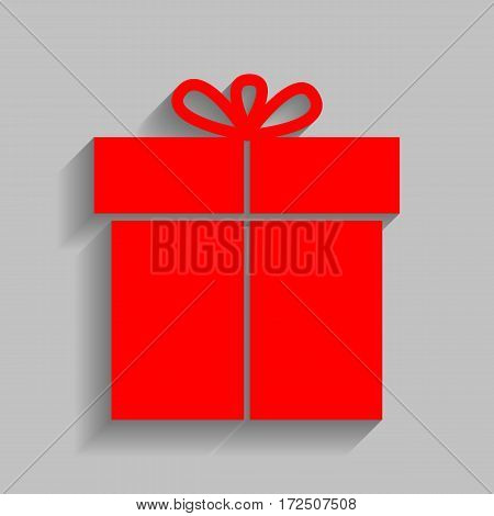 Gift sign. Vector. Red icon with soft shadow on gray background.