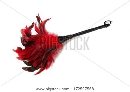 Black -and-Red Feathered fetish equipment isolated on white background