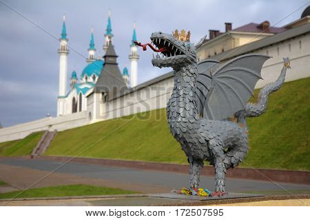 The symbol of the Kazan city - Zilant the dragon. Kazan Republic of Tatarstan Russia.