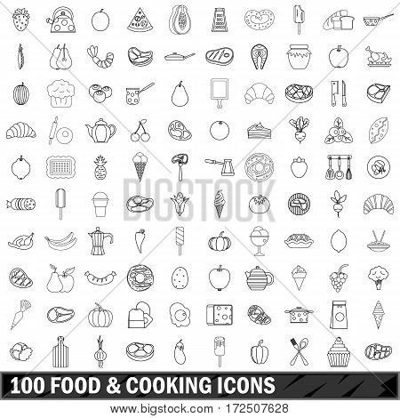 100 food and cooking icons set in outline style for any design vector illustration