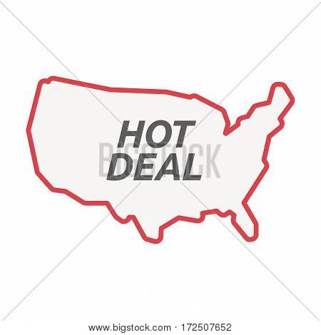 Isolated Line Art Usa Map With    The Text Hot Deal
