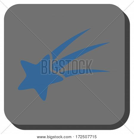 Falling Star square icon. Vector pictograph style is a flat symbol centered in a rounded square button cobalt blue and gray colors.