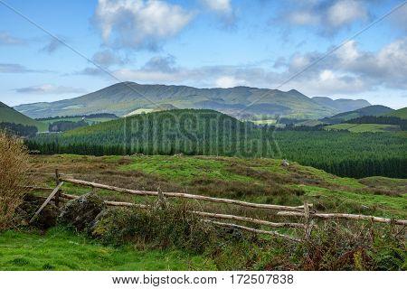 Long shot of Santa Barbara mountain range in Terceira, Azores
