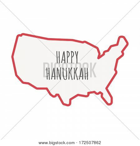 Isolated Line Art Usa Map With    The Text Happy Hanukkah