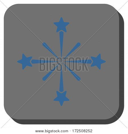 Fireworks square icon. Vector pictogram style is a flat symbol centered in a rounded square button cobalt blue and gray colors.