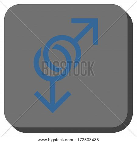 Gay Love Symbol toolbar button. Vector pictograph style is a flat symbol centered in a rounded square button cobalt blue and gray colors.