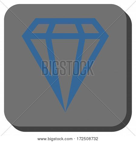 Gem interface toolbar button. Vector pictograph style is a flat symbol on a rounded square button cobalt blue and gray colors.