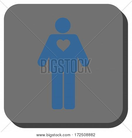 Groom square button. Vector pictograph style is a flat symbol on a rounded square button cobalt blue and gray colors.