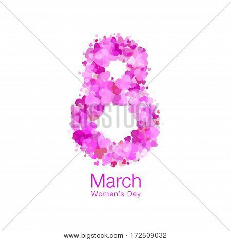March 8 - Womens Day light design of greeting card template. Symbol of International Women's day with bright red purple pink hearts isolated on white background. Vector illustration.