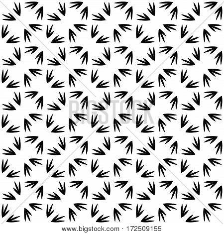 Abstract vector background seamless pattern mosaic of bird footprints. Natural design wallpaper.