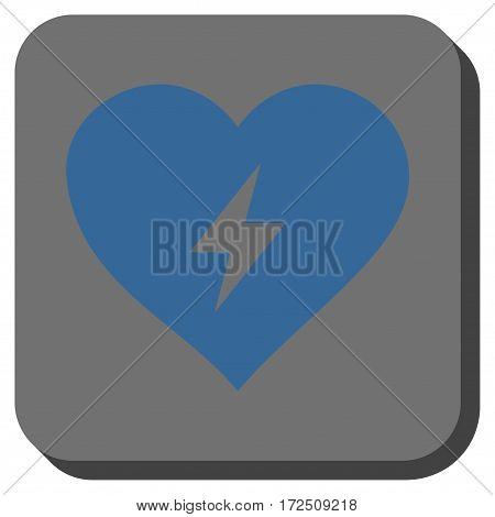 Heart Power square button. Vector pictogram style is a flat symbol inside a rounded square button cobalt blue and gray colors.