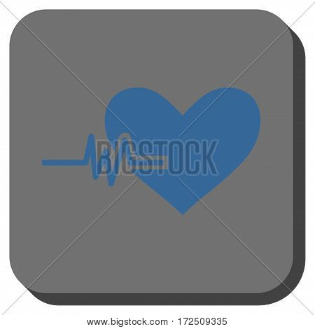 Heart Pulse rounded button. Vector pictograph style is a flat symbol in a rounded square button cobalt blue and gray colors.