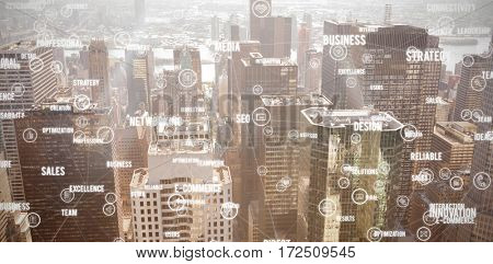 Sphere of icons and words against image of a city landscape