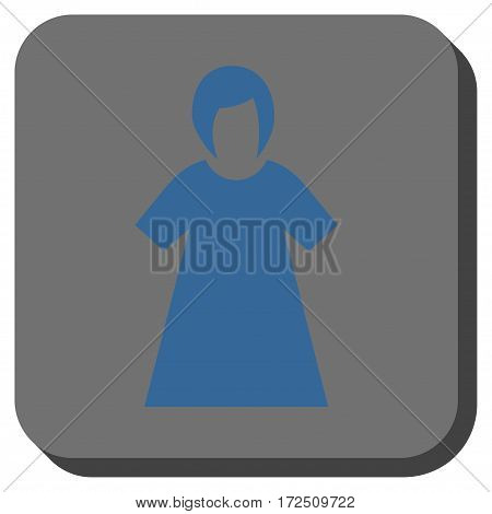 Lady Figure rounded icon. Vector pictograph style is a flat symbol centered in a rounded square button cobalt blue and gray colors.