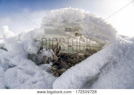Ice floe on coastline of lake Liptovska Mara Slovakia