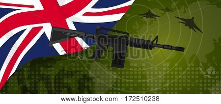 UK United Kingdom England Britain military power army defense industry war and fight country national celebration with gun soldier jet fighter and radar vector