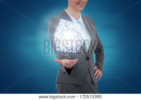 Businesswoman gesturing on blue background