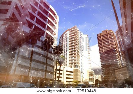 Constellation between stars against buildings in city