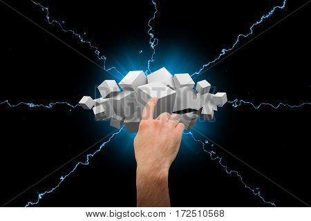 Hand pointing against grey cubes floating in a cluster