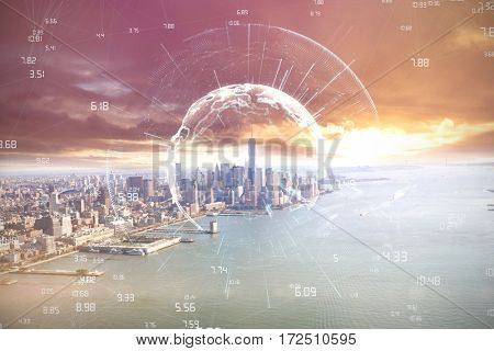 Image of earth with different times against city by the sea