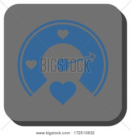 Love Gauge square button. Vector pictogram style is a flat symbol inside a rounded square button cobalt blue and gray colors.