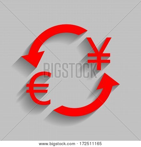 Currency exchange sign. Euro and Japan Yen. Vector. Red icon with soft shadow on gray background.