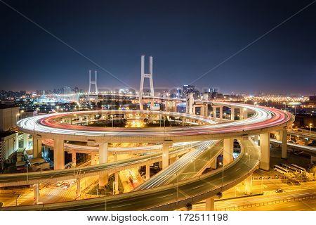shanghai nanpu bridge at night busy traffic background