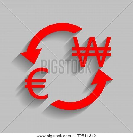 Currency exchange sign. Euro and South Korea Won. Vector. Red icon with soft shadow on gray background.