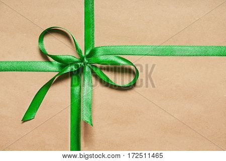 Gift Box With Satin Green Ribbon And  Bow