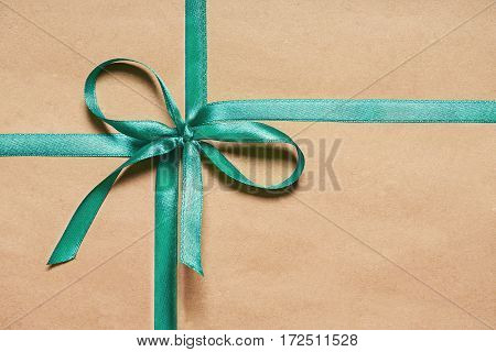 Gift Box With Satin Blue Ribbon And  Bow
