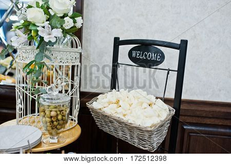 White Chips With Olives On Wedding Reception.