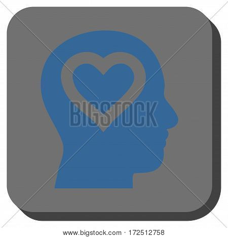 Love In Head rounded icon. Vector pictograph style is a flat symbol inside a rounded square button cobalt blue and gray colors.