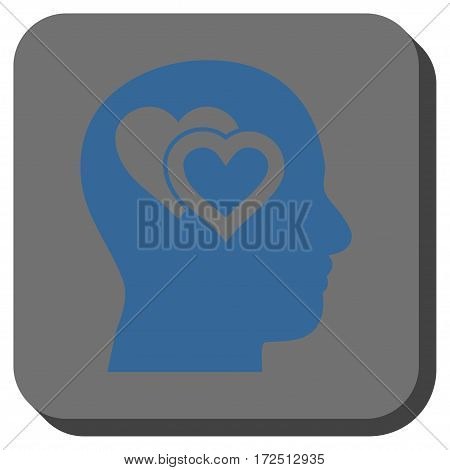 Love In Mind interface toolbar icon. Vector pictograph style is a flat symbol inside a rounded square button cobalt blue and gray colors.