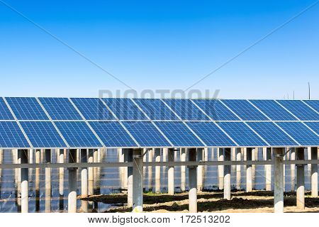 photovoltaic power generation renewable energy sources against a sunny sky