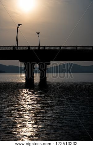 view of bridge in the riverin wuxi cityjiangsu provinceChina.
