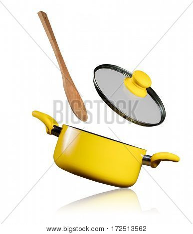 Empty kitchen pot with flying lid and wooden spoon, isolated on white background