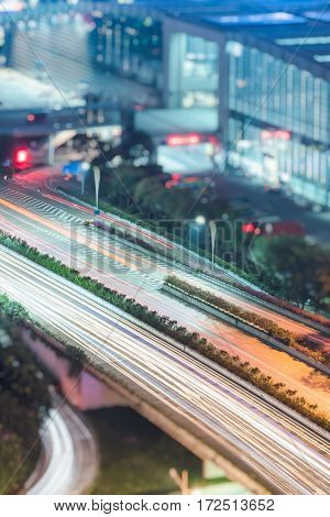 aerial view of urban traffic with cityscape in ShenzhenChina.