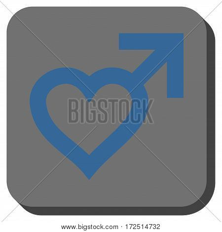 Male Heart interface icon. Vector pictogram style is a flat symbol in a rounded square button cobalt blue and gray colors.