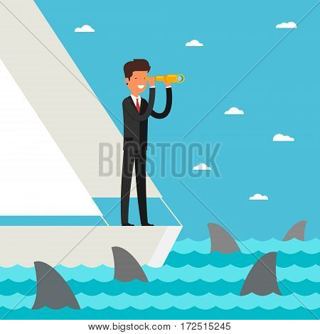 Business leadership and goal concept. Businessman stands in yacht looking through spyglass into future in ocean with shark. Flat design, vector illustration.