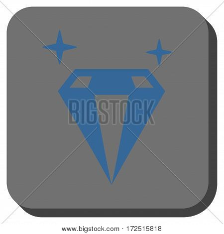 Sparkle Diamond Crystal interface button. Vector pictograph style is a flat symbol inside a rounded square button cobalt blue and gray colors.