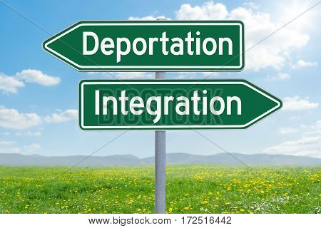 Two Green Direction Signs - Deportation Or Integration
