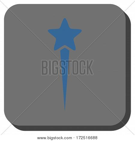 Starting Star interface icon. Vector pictogram style is a flat symbol inside a rounded square button cobalt blue and gray colors.