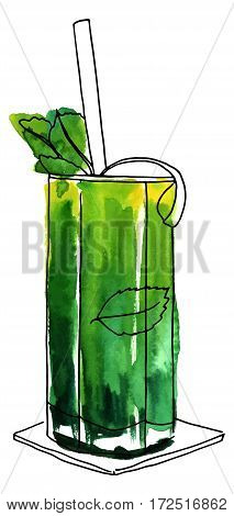 A vector and watercolor drawing of a mojito cocktail with mint leaves, a wedge of lime, and a drinking straw, isolated on white background