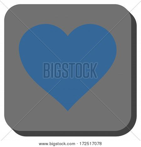 Valentine Heart interface toolbar icon. Vector pictograph style is a flat symbol in a rounded square button cobalt blue and gray colors.
