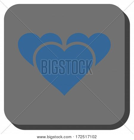 Valentine Hearts interface toolbar button. Vector pictograph style is a flat symbol in a rounded square button cobalt blue and gray colors.