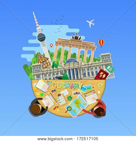 Concept of travel to Germany or studying German. German flag with landmarks in the office. Flat design, vector illustration
