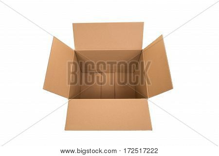 Open empty carton box seen from above isolated on a white background