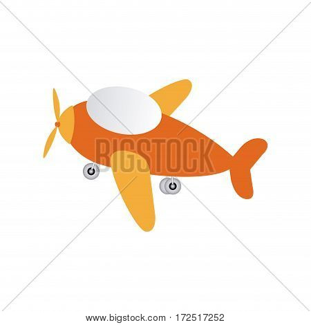 orange toy airplane fly icon, vector illustration design